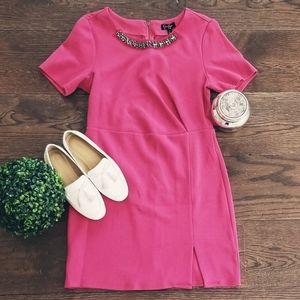 Pink Mini Dress with Embellished Neck Line